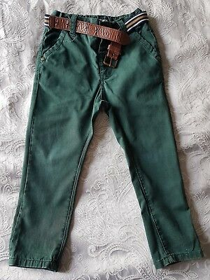 Next baby boys skinny 100% cotton  chino jeans trousers 1.5 / 2 yrs racing green