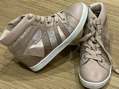 Girls River Island Pink Sparkly Trainer Boots Size UK 1