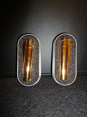 24k Gold Plated Metal Electronic Clipper Lighter Gas Flint Refillable Boxed x 1