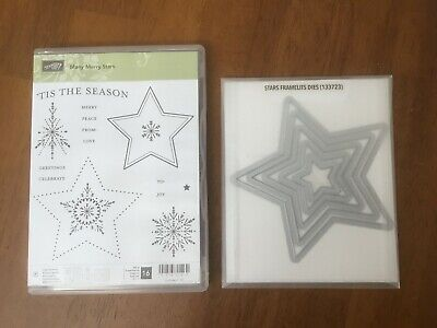 "NEW~CLEAR unmounted-Christmas~Stars Sayings 16 /""MANY MERRY STARS/"" Stampin/'UP"