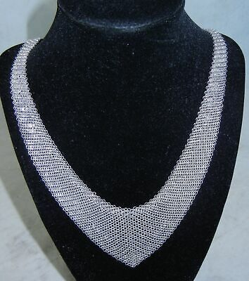 "TIFFANY & Co Elsa Peretti Mesh Bib Sterling Silver 30"" Chain Necklace  h576"