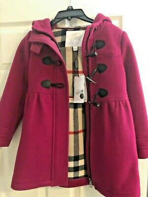 Ex Marks and Spencer Kids Girls Hooded Faux Fur Thermal Duffle Coat with Wool