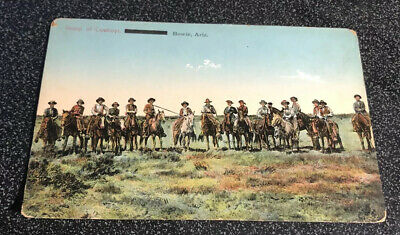 Early Postcard - Group Of Cowboys On Horses, Bowie, Az
