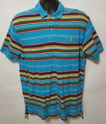 Polo by Ralph Lauren Mens Multi-Color Striped Short Sleeve Golf Polo Shirt Large