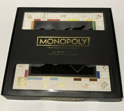 Monopoly Luxe Edition BLACK & GOLD Hasbro Wood Cabinet Rare Limited Board Game