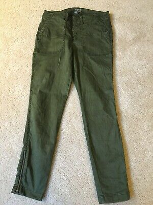 J Crew 29 Skinny Stretch Cargo Pant With Zippers Green