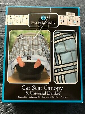 New Balboa Baby Car Seat Canopy Cover Universal Blanket Reversible Blue Plaid