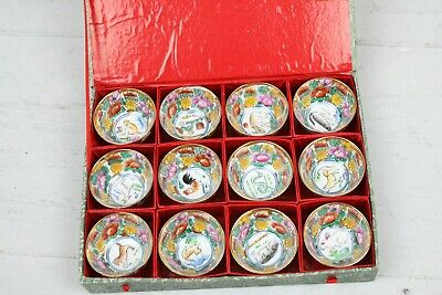 Antique Boxed Asian Cups Zodiac Signs Miniature Cups Bowls Set of 12 Animals