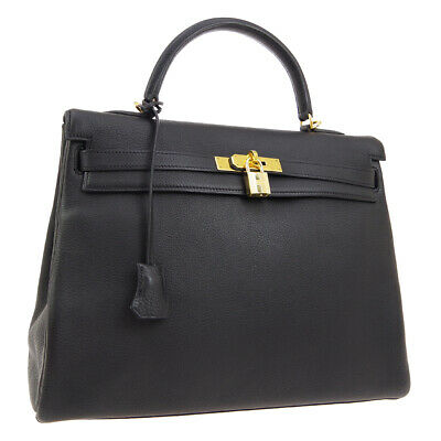 HERMES KELLY 35 RETOURNE 2way Hand Bag □G 92.S Black Taurillon Clemence AK33117i