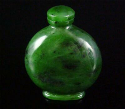 Antique Old Chinese Spinach Green Nephrite Jade Snuff Bottle