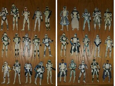 "Lot x 35 Hasbro Star Wars 3.75"" Clone Wars Clone Troopers Action Figures Fodder"