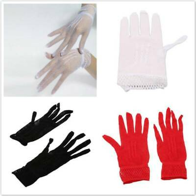 Women's Stretch Five-Fingered Solid Hollow Lace Gloves Bride Dance Gloves S