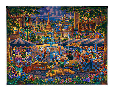 Disney Dowdle Mickey & Friends Painting in Paris 11 x 14 Gallery Wrapped Canvas