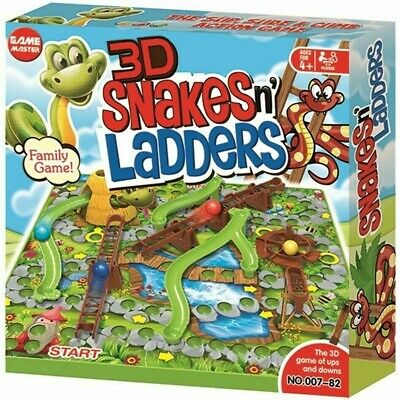 3D Traditional Kids Snakes & Ladders Board Children Family Fun Game Toy Party