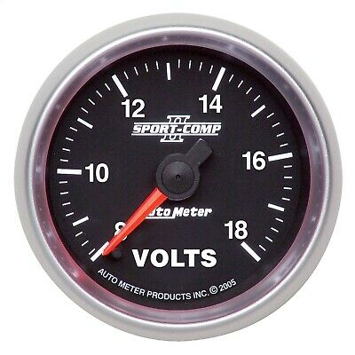 AutoMeter 3691 Sport-Comp II Electric Voltmeter Gauge with White LED Lighting