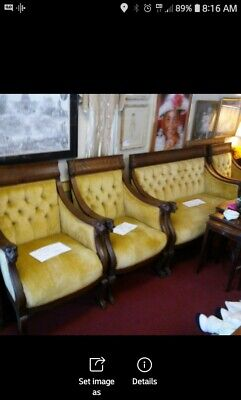 Antique Gold Griffin Settee and 3 Chairs - original fabric circ 1860