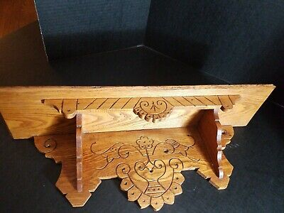 Antique Eastlake Wall Shelf Carved Oak Victorian