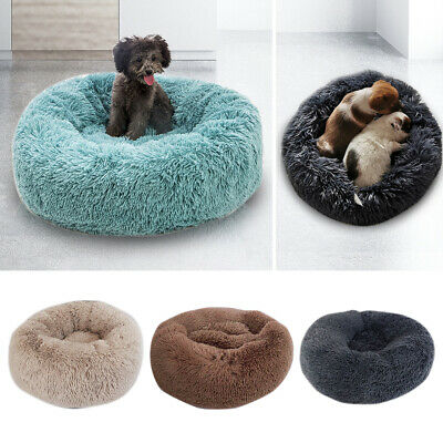 Pet Dog Cat Calming Bed Soft Plush Comfy Flufy Round Nest Medium Small Dogs Cats