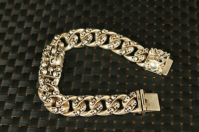 Chinese old tibet miao silver hand carving skull Statue bracelet collection gift