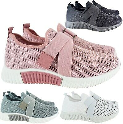 Ladies Womens Flat Diamante Sock Knit Bali Sports Sneaker Running Trainers Shoes