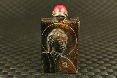 unique chinese old yak horn hand carved buddha monk snuff bottle bronze jade lid