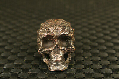 chinese old red bronze hand casrved skull head statue netsuke collectable