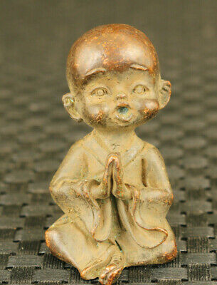 Rare chinese old bronze hand carving monk child statue gift decoration