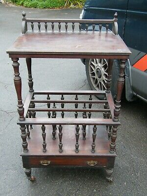 Antique Victorian Hand Carved Flame Mahogany Canterbury Trolley-circa 1880's