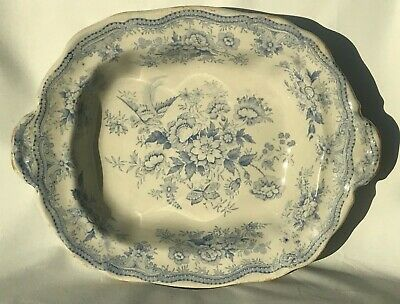 Vintage Blue & White Asiatic Pheasant Style Serving Plate