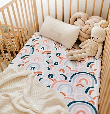 Baby Fitted Cotton Jersey Stretchy Cot Sheet/Soft and Snuggly/Rainbow/NEW