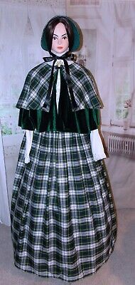 Ladies Victorian Dickensian 3pc tartan Christmas gentry costume - fancy dress
