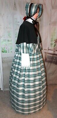 Ladies Victorian Dickensian 3pc Check Christmas gentry costume - fancy dress