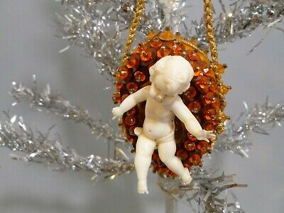 Vintage Mid Century Gold Jeweled Bead Sequin Ornament With Angel
