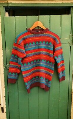 VINTAGE 90s TULCHAN GEOMETRIC PATTERNED JUMPER 100% WOOL SMALL
