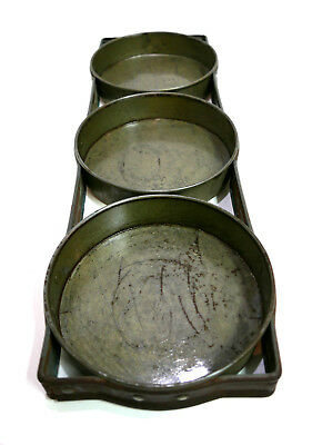 """Early Primitive Antique Tin 7"""" Round 3 Connected Cake Pans with Rolled Edges"""