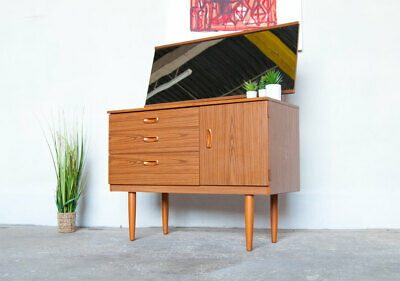 A Schreiber Mid Century Dresser Table Drawers & Mirror Vintage Delivery Option