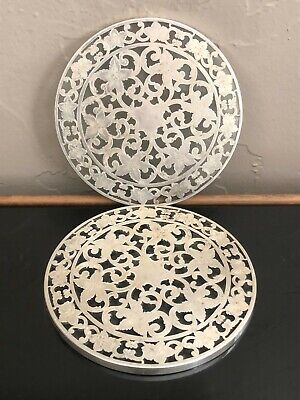 Pair (2) Antique Webster Solid Sterling Silver & Glass 6 Inch Trivets