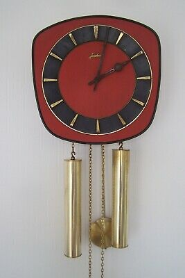 Vintage Mid 20th Century Junghans Red and Brass Wall Clock