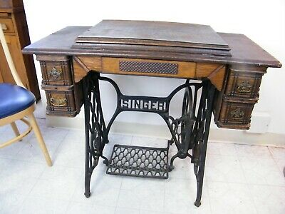 Antique 1903 Singer Treadle Sewing Machine 5 Drawer Oak Cabinet Model 27 Sphinx