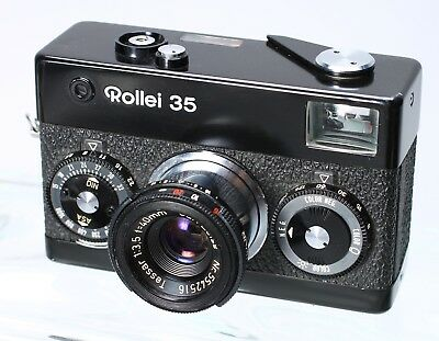 Rollei 35 Black With Tessar 40Mm F/3.5 Lens, Strap, Case