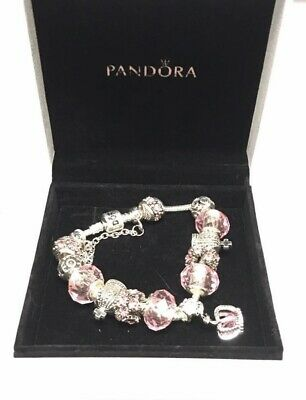 Authentic Pandora Charm Bracelet With Charms Pink Princess Crown