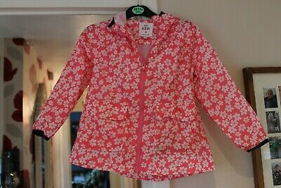 Marks and Spencer Kids Girl's pink floral rain jacket/ coat size age 4-5 years