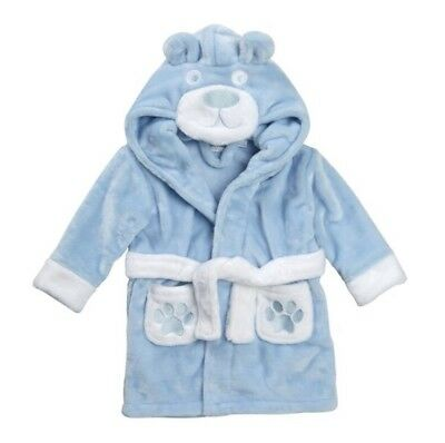 BRAND NEW Boys Hooded Fleece Teddy Bear Bath Robe Dressing Gown 6-12 Months