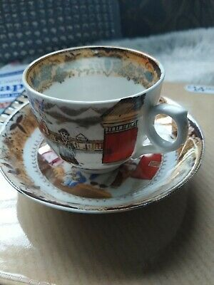 Oriental China Tea Cup & Saucer Duo -  Ornate Chinese/Japanese Design