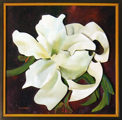 White Flower by TPMcKEE  Modern Abstract Lily Orchid Original Wall Art Painting