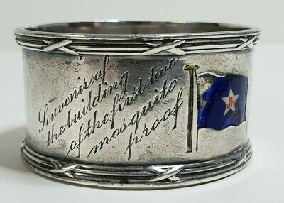 John Holt line Sterling silver napkin ring 1910 engr 1st mosquito proof ships