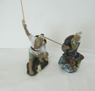 TWO CHINESE MUDMEN FIGURINES FISHING w/FISH ON ROD