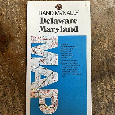 1980 Census DELAWARE~MARYLAND Folded RAND MCNALLY State Road Travel Atlas MAP MD
