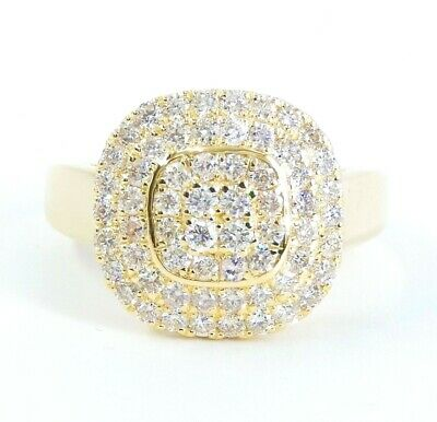 14K Solid Yellow Gold Ring 2 Ct VS/H 100% Natural Diamond  Effect  CUSHION Pave