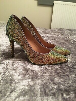 Bnwt New Look Glitter Stiletto Heel Shoes Uk Size 5 Purple Sparkle Wedding
